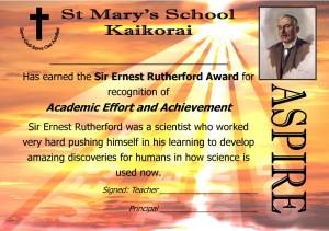 St Mary's Kaikorai Sir Earnest Rutherford Aspire Award