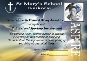 St Mary's School Kaikorai Sir Edmund Hillary Aspire Award