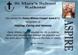 St Mary's Kaikorai Dame Whena Cooper Aspire Award